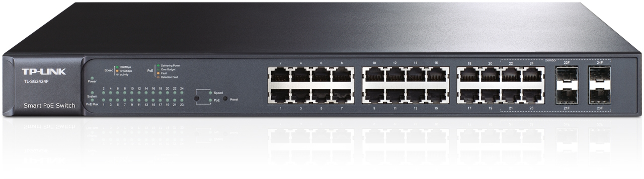 Switch 24 ports Gigabit smart PoE avec 4 emplacements combinés SFP
