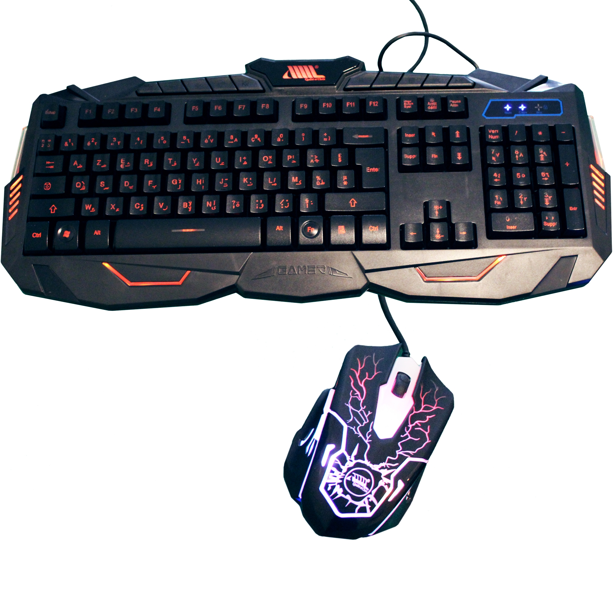 Wired backlighting keyboard and mouse combo