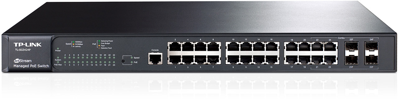 Switch JetStream administrable niveau2 24ports Gigabit PoE