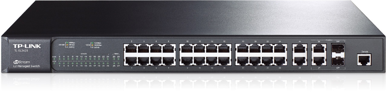 Switch JetStream™ administrable niveau 2 24 ports 10/100Mbps + 4 ports Gigabit